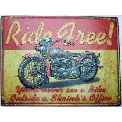 Retro fémtábla kép Ride Free 40x30 3D dombornyomású