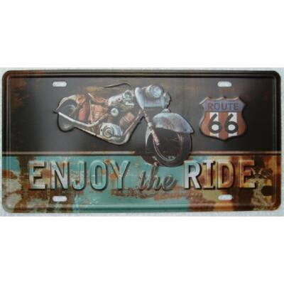 Retro fémtábla kép enjoy the ride 3D dombornyomású