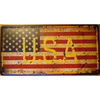 Retro fémtábla 30x15 kép USA zászló feliratos 3D dombornyomású