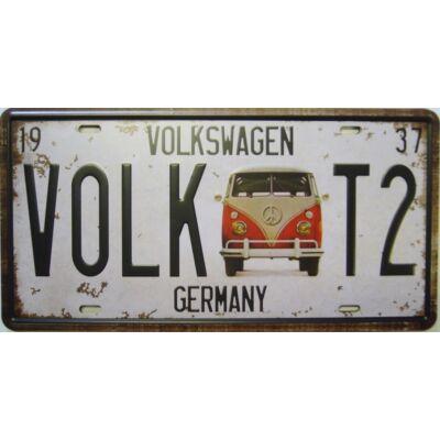 Retro fémtábla 30x15 kép Volkswagen T2 1937 3D dombornyomású
