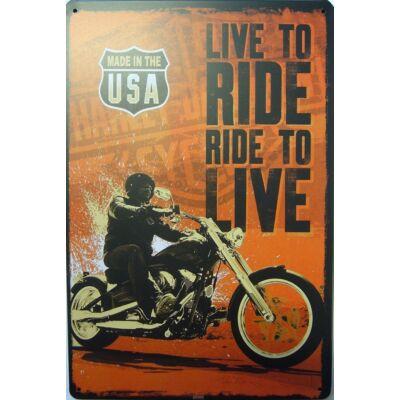 Retro fémtábla kép Live to Ride