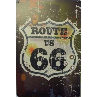 Retro fémtábla 20x30 kép Route66 sötét