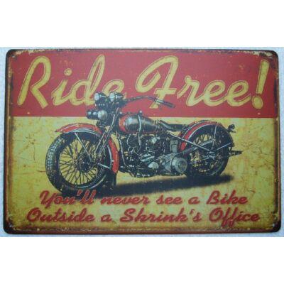 Retro fémtábla 30x20 kép Ride Free 3D