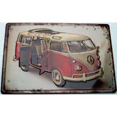 Retro fémtábla 30x20 kép VW Cali oldalajtós 3D dombornyomású