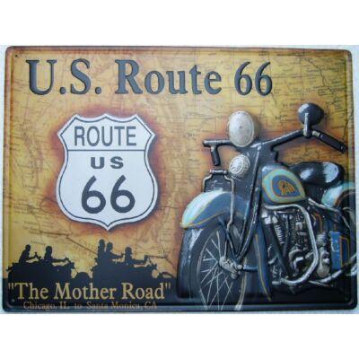 Retro fémtábla kép U.S.Route 66 30x40 3D dombornyomású