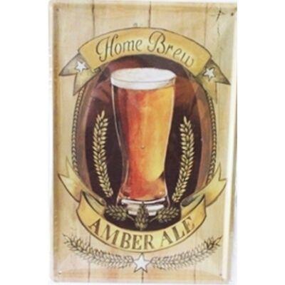 Retro fémtábla kép Home Brew