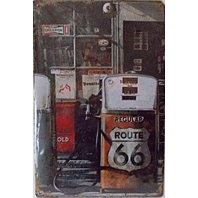 Retro fémtábla kép benzinkút