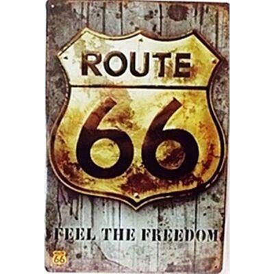 Retro fémtábla kép route 66 30x40 cm