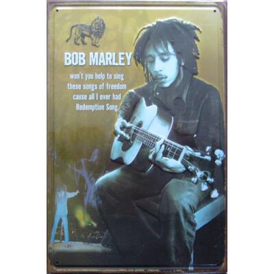 Retro fémtábla kép Bob Marley gitár 3D dombornyomású