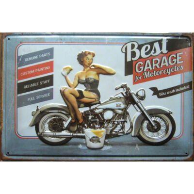 Retro fémtábla kép Best Garage 3D dombornyomású