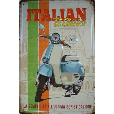 Retro fémtábla kép Italian El Classico 3D dombornyomású