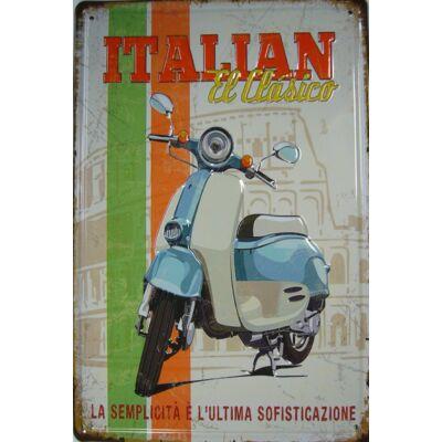 Retro fémtábla 20x30 kép Vespa Italian El Classico 3D