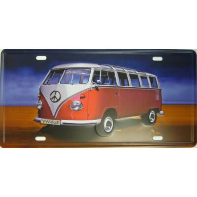 Retro fémtábla 30x15 kép VW bus T2 3D dombornyomású