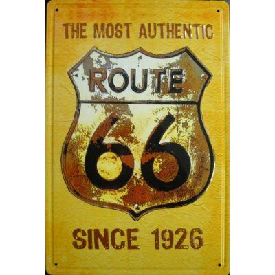 Retro fémtábla 20x30 kép Route66 viágos 3D