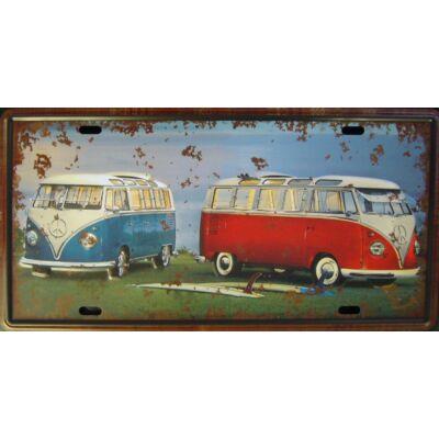 Retro fémtábla 30x15 kép VW kék piros