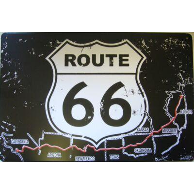 Retro Fémtábla 30x20 kép route 66 útvonallal