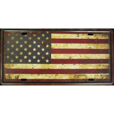 Retro fémtábla 30x15 kép USA Flag 3D dombornyomású