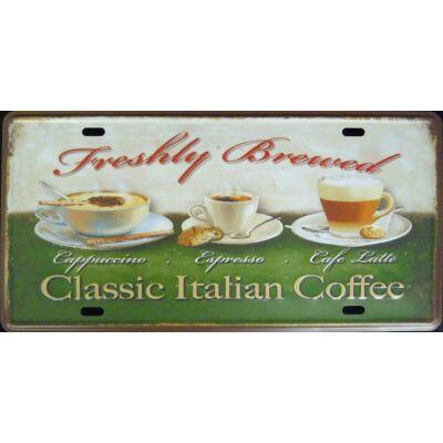 Retro fémtábla 30x15 kép Claasic Italian Coffe 3D dombornyomású