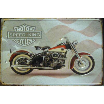 Retro fémtábla 30x20 kép Motor speed king piros