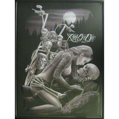 Retro fémtábla 30x40 kép ride or die fekvő koponya