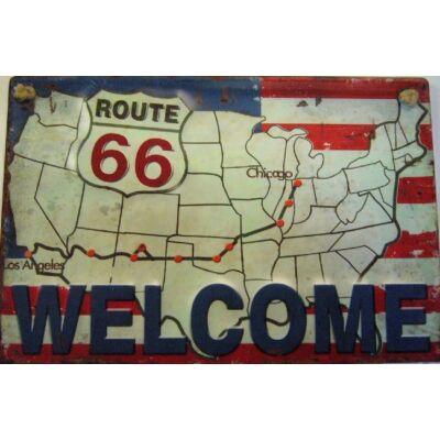 fémtábla 30x20 Route 66 WELCOME